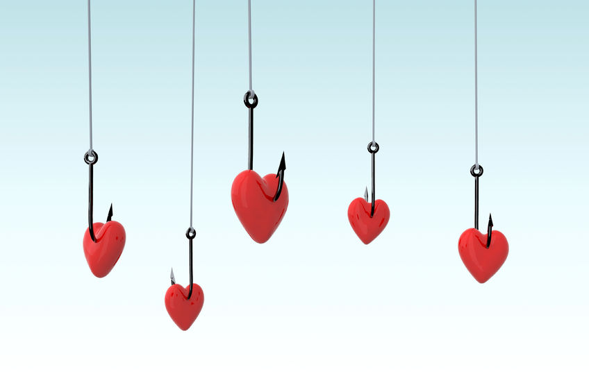 60112420 - Many Fishing Hook And Hearts, 3d Illustration