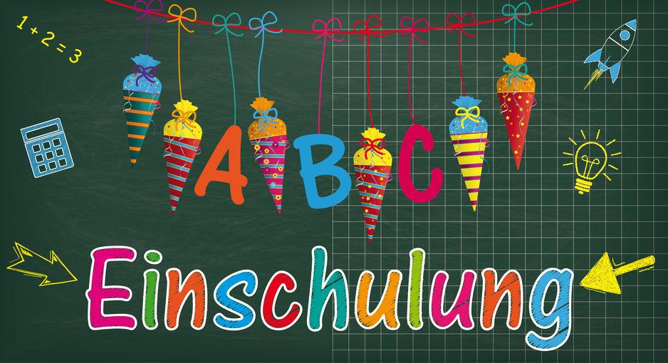 "German Text ""Einschulung"", Translate ""Enrollment"". Eps 10 Vector File."