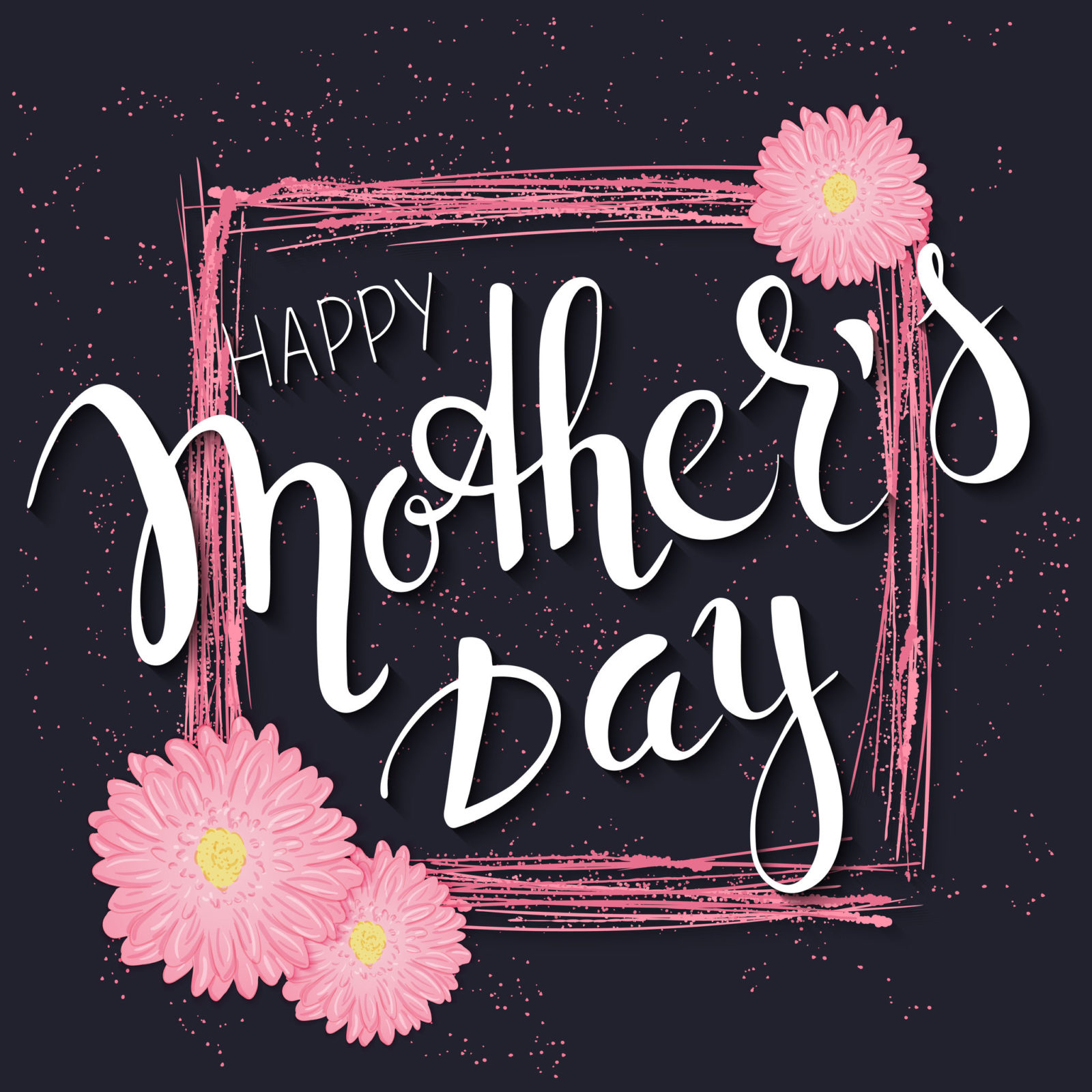 Vector Hand Drawn Mothers Day Lettering With Branches, Swirls, Flowers And Quote - Happy Mothers Day. Can Be Used As Mothers Dar Card Or Poster.